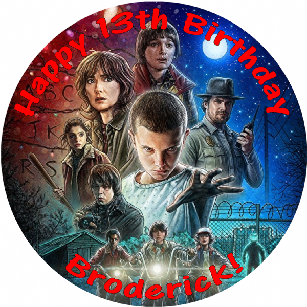 STRANGER THINGS EDIBLE ROUND BIRTHDAY CAKE PERSONALISED DECORATION